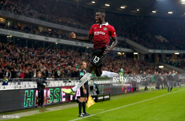 Ihlas Bebou of Hannover celebrates after he scores the 2nd goal during the Bundesliga match between Hannover 96 and Hamburger SV at HDIArena on...