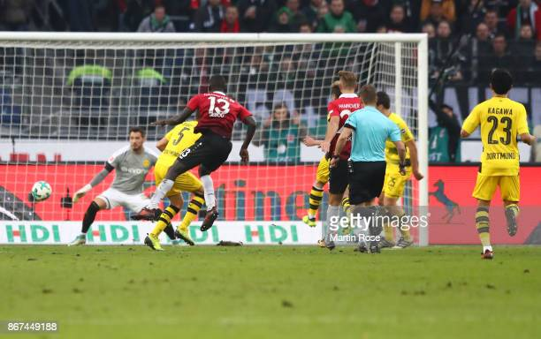 Ihlas Bebou of Hannover scores his teams fought goal to make it 42 during the Bundesliga match between Hannover 96 and Borussia Dortmund at HDIArena...