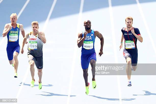 Ihor Bodrov of Ukraine Julian Reus of Germany Lashawn Merritt of the United States and Christophe Lemaitre of France compete in the Men's 200m Round...