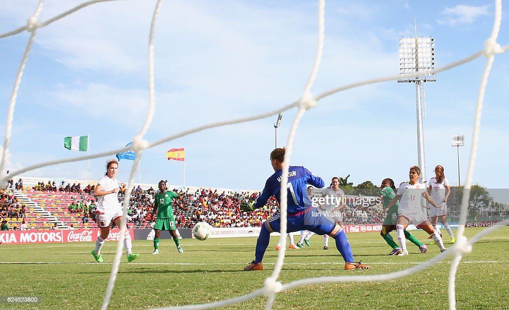 Ihouma Goodness Onyebuchi of Nigeria scores a goal during the FIFA U-20 Women's World Cup, Group B match between Nigeria and Spain at PNG Football Stadium on November 20, 2016 in Port Moresby, Papua New Guinea.