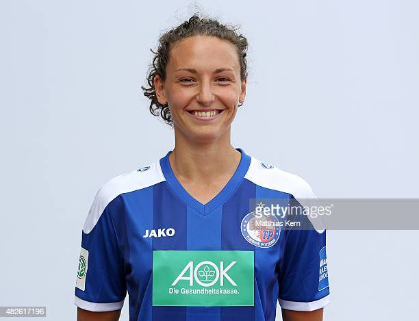 IIaria Mauro poses during the official women's team presentation of 1FFC Turbine Potsdam at Luftschiffhafen on July 31 2015 in Potsdam Germany