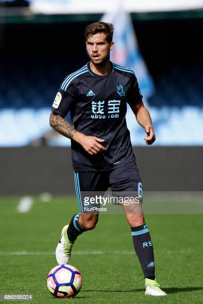 Iñigo Martinez defender of Real Sociedad de Futbol drives the ball during the La Liga Santander match between Celta de Vigo and Real Sociedad de...