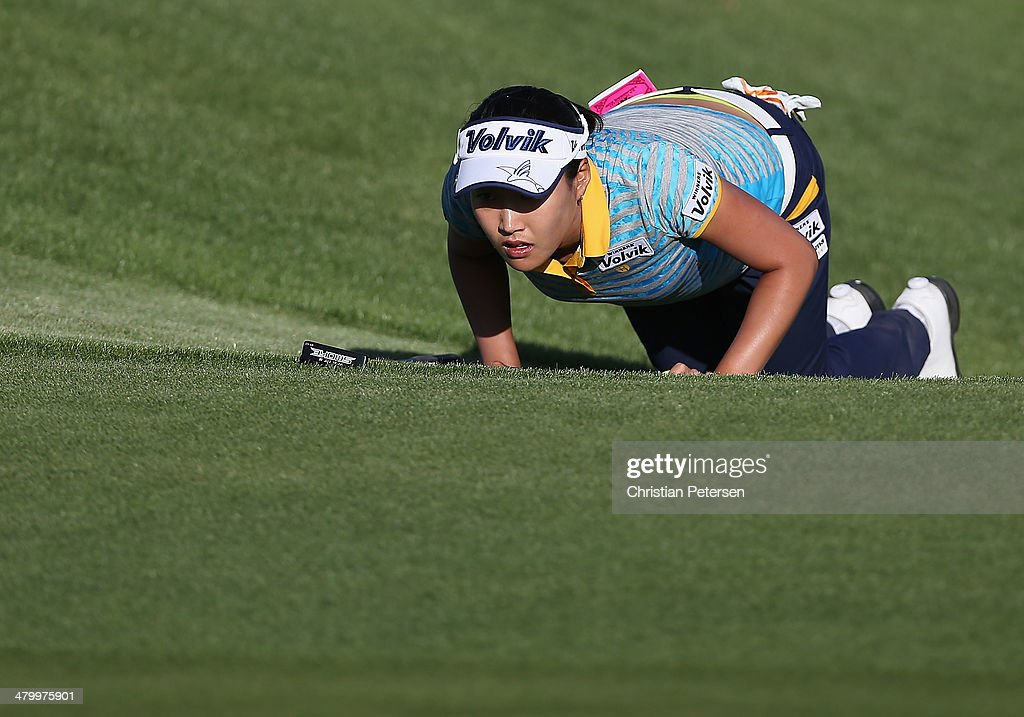Iihee Lee of South Korea looks over the seventh green during the second round of the JTBC LPGA Founders Cup at Wildfire Golf Club on March 21, 2014 in Phoenix, Arizona.