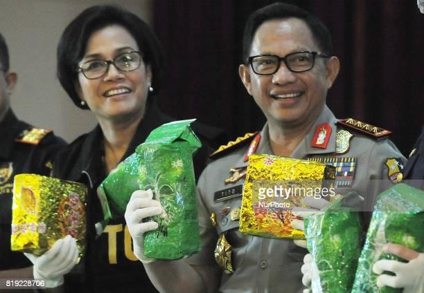 IIndonesian police chief Tito Karnavian with Finance Minister Sri Mulyani show evidence 1000 Kilograms of crystal methamphetamine drugs at...