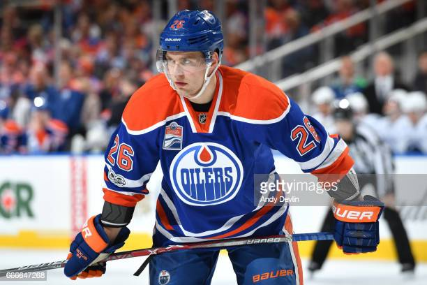 Iiro Pakarinen of the Edmonton Oilers lines up for a face off during the game against the Vancouver Canucks on April 9 2017 at Rogers Place in...