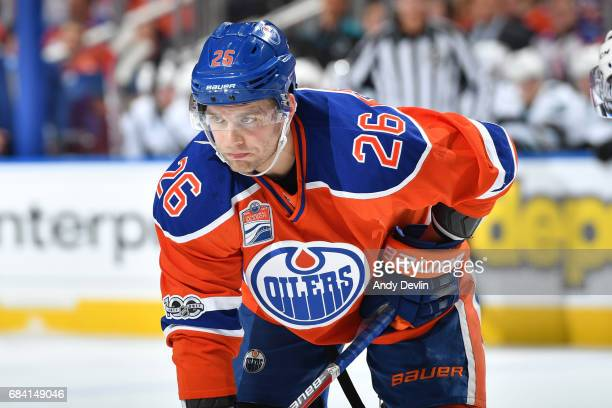 Iiro Pakarinen of the Edmonton Oilers lines up for a face off during Game One of the Western Conference First Round during the 2017 NHL Stanley Cup...