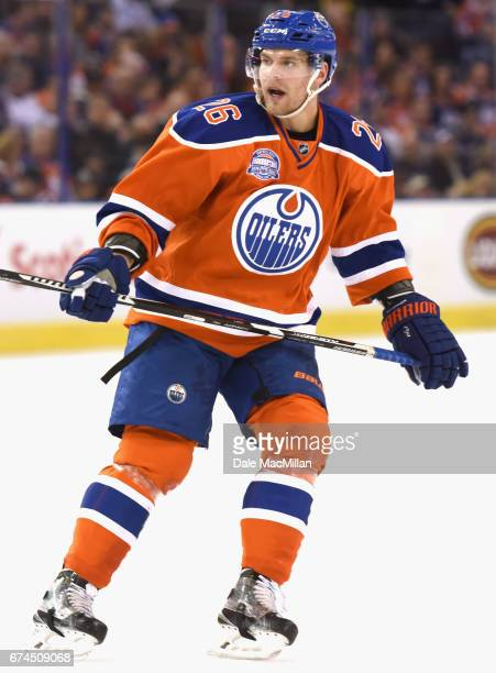 Iiro Pakarinen of the Edmonton Oilers plays in the game against the Vancouver Canucks at Rexall Place on April 6 2016 in Edmonton Alberta Canada