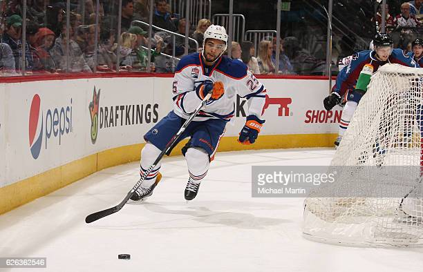 Iiro Pakarinen of the Edmonton Oilers skates against the Colorado Avalanche at the Pepsi Center on November 23 2016 in Denver Colorado The Oilers...