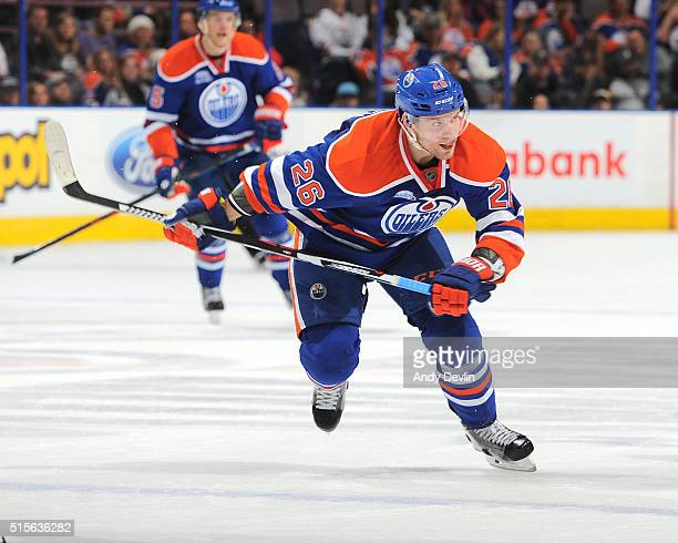 Iiro Pakarinen of the Edmonton Oilers skates during a game against the Nashville Predators on March 14 2016 at Rexall Place in Edmonton Alberta Canada