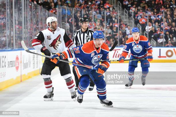 Iiro Pakarinen of the Edmonton Oilers skates during the game against Tobias Rieder the Arizona Coyotes on February 14 2017 at Rogers Place in...
