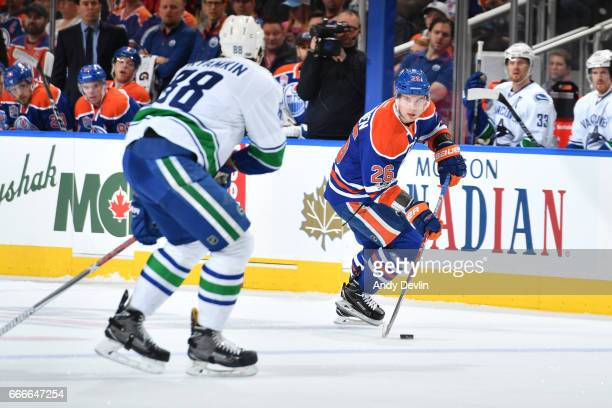 Iiro Pakarinen of the Edmonton Oilers skates during the game against the Vancouver Canucks on April 9 2017 at Rogers Place in Edmonton Alberta Canada