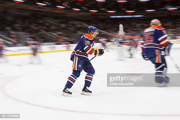 Iiro Pakarinen of the Edmonton Oilers warms up against the Calgary Flames on September 26 2016 at Rogers Place in Edmonton Alberta Canada