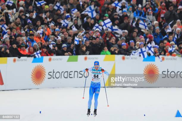Iivo Niskanen of Finland powers towards the finish line in the Men's 15KM Cross Country during the FIS Nordic World Ski Championships on March 1 2017...