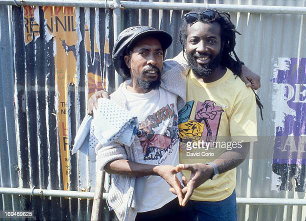 Ijahman Levi and Freddie McGregor backstage at Reggae Sunsplash Kennington Park London 5th July 1987