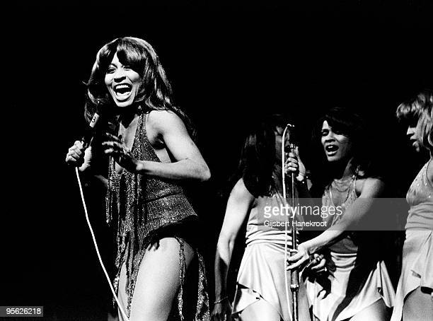 Tina Turner performs live on stage with the Ikettes at De Doelen in Rotterdam Holland in 1971