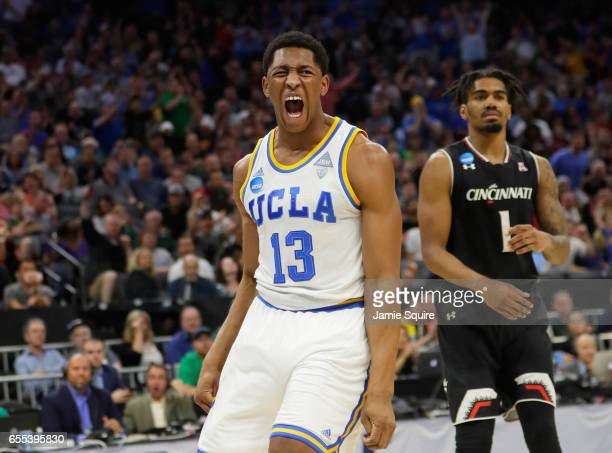 Ike Anigbogu of the UCLA Bruins reacts after a dunk against the Cincinnati Bearcats during the second round of the 2017 NCAA Men's Basketball...
