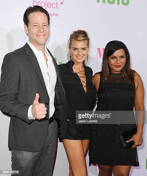 Ike Barinholtz Eliza Coupe and Mindy Kaling attend 'The Mindy Project' 4th season premiere at Ysabel on September 12 2015 in West Hollywood California