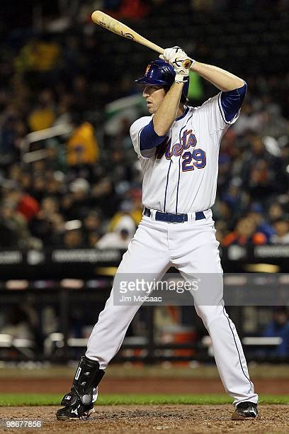 Ike Davis of the New York Mets bats against the Atlanta Braves on April 25 2010 at Citi Field in the Flushing neighborhood of the Queens borough of...