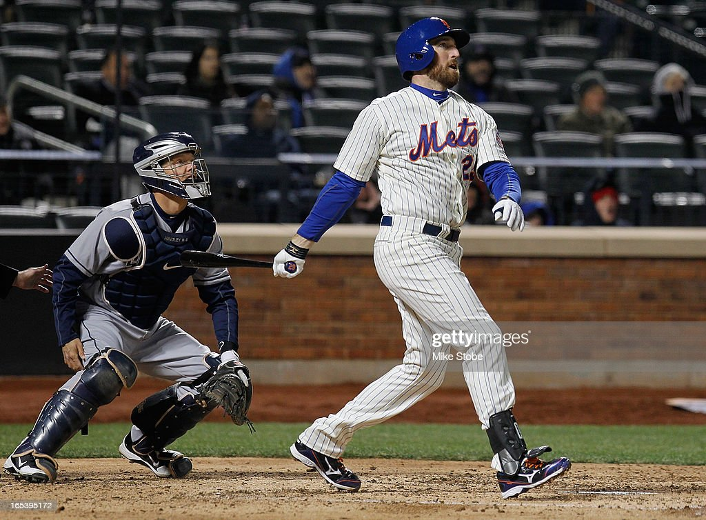 <a gi-track='captionPersonalityLinkClicked' href=/galleries/search?phrase=Ike+Davis&family=editorial&specificpeople=2349664 ng-click='$event.stopPropagation()'>Ike Davis</a> #29 of the New York Mets connects on a two-run homer in the fifth inning against the San Diego Padres at Citi Field on April 3, 2013 in the Flushing neighborhood of the Queens borough of New York City.