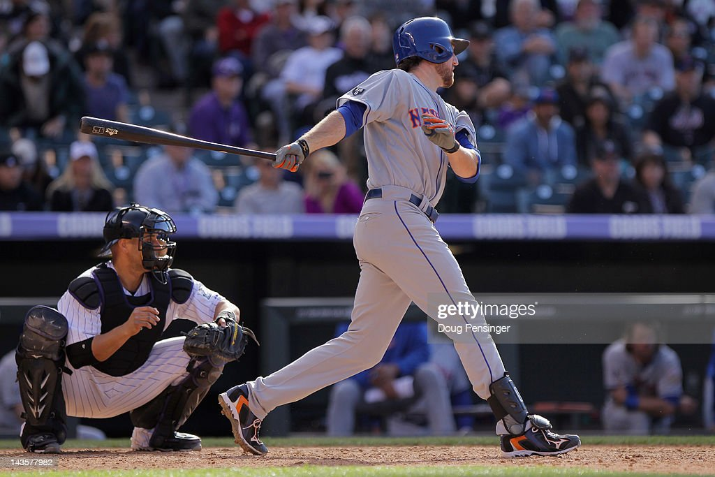 <a gi-track='captionPersonalityLinkClicked' href=/galleries/search?phrase=Ike+Davis&family=editorial&specificpeople=2349664 ng-click='$event.stopPropagation()'>Ike Davis</a> #29 of the New York Mets hits the game winning RBI single off of Matt Belisle #34 of the Colorado Rockies to score David Wright #5 of the New York Mets in the 11th inning at Coors Field on April 29, 2012 in Denver, Colorado. The Mets defeated the Rockies 6-5 in 11 innings.