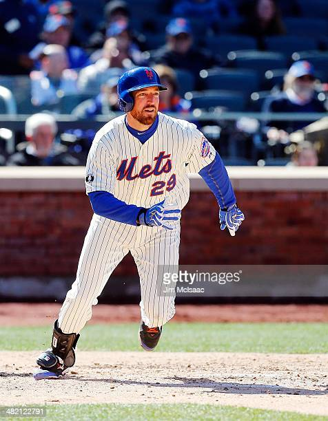 Ike Davis of the New York Mets in action against the Washington Nationals during their Opening Day game at Citi Field on March 31 2014 in the...