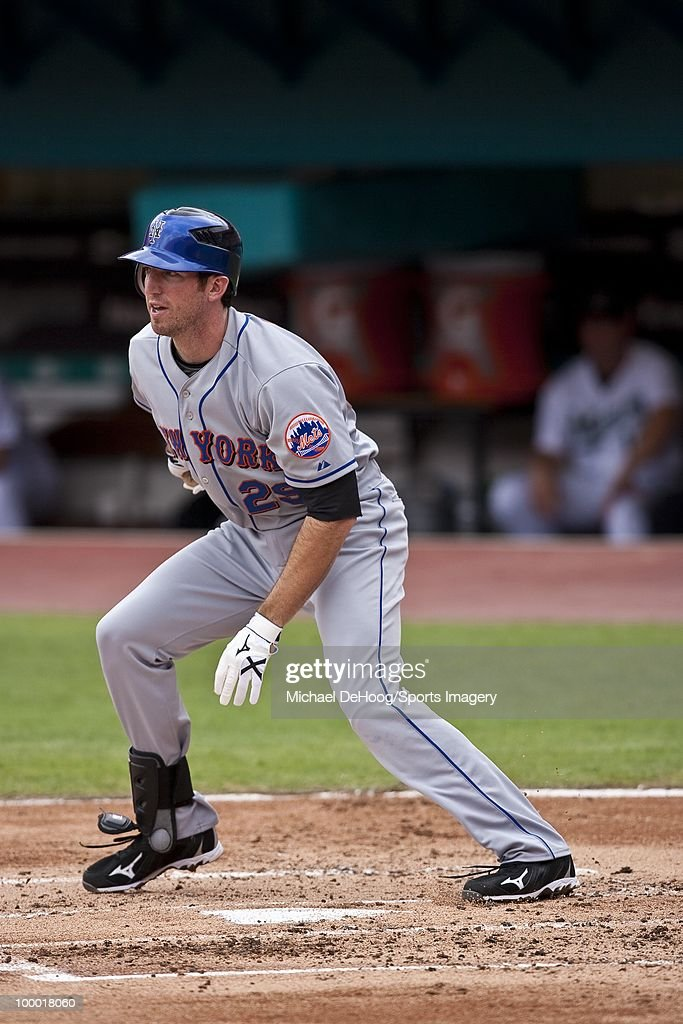 Ike Davis #29 of the New York Mets runs to first base during a MLB game against the Florida Marlins in Sun Life Stadium on May 16, 2010 in Miami, Florida.
