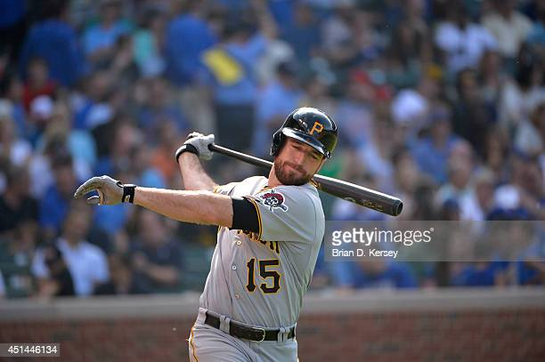 Ike Davis of the Pittsburgh Pirates gets ready to bat during the sixth inning against the Chicago Cubs at Wrigley Field on June 20 2014 in Chicago...