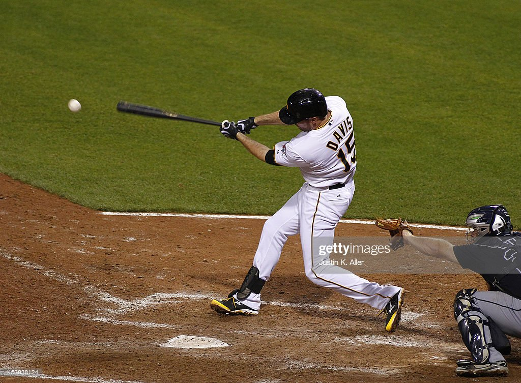<a gi-track='captionPersonalityLinkClicked' href=/galleries/search?phrase=Ike+Davis&family=editorial&specificpeople=2349664 ng-click='$event.stopPropagation()'>Ike Davis</a> #15 of the Pittsburgh Pirates hits a RBI single in the ninth inning against the Atlanta Braves during the game at PNC Park on August 19, 2014 in Pittsburgh, Pennsylvania.