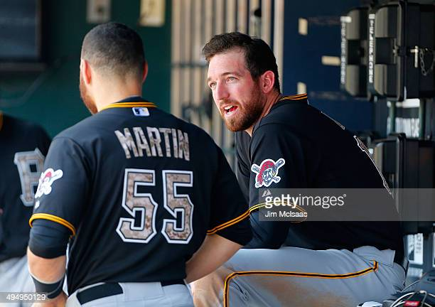 Ike Davis of the Pittsburgh Pirates looks on against the New York Mets at Citi Field on May 26 2014 in the Flushing neighborhood of the Queens...