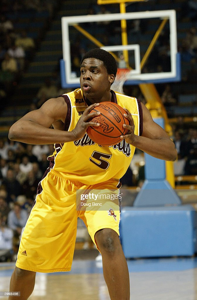 Ike Diogu of the Arizona State Sun Devils holds the ball during the game against the UCLA Bruins on January 15 2004 at Pauley Pavillion in Westwood...