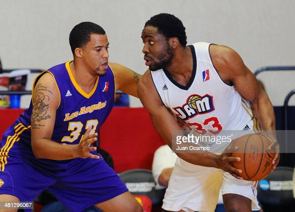 Ike Diogu of the Bakersfield Jam handles the ball against Brandon Costner of the Los Angeles DFenders during a DLeague game on March 28 2014 at...