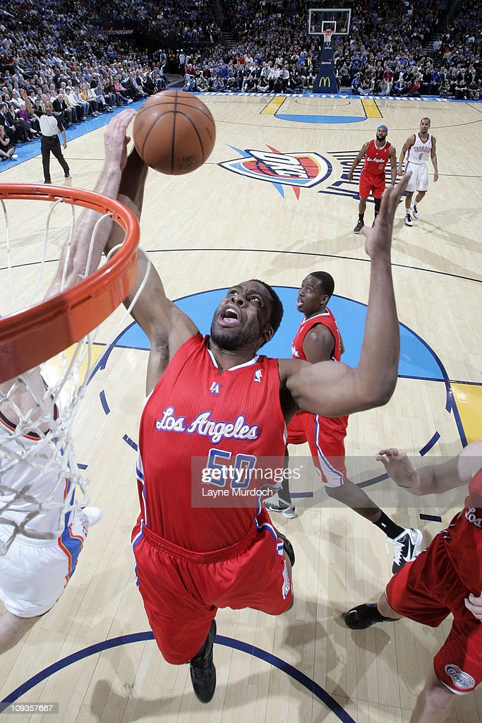 Ike Diogu of the Los Angeles Clippers rebounds against the Oklahoma City Thunder on February 22 2011 at the Oklahoma City Arena in Oklahoma City...