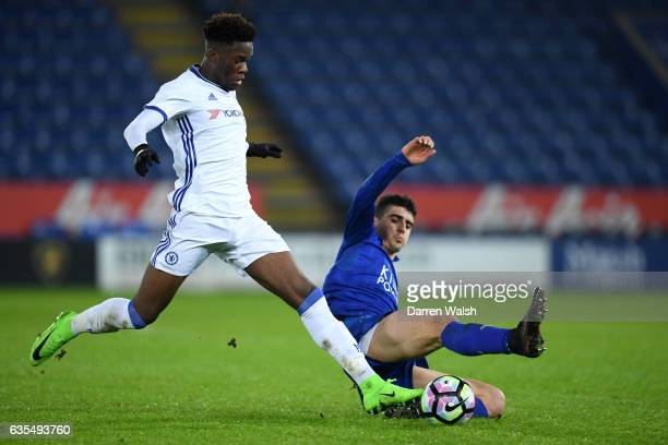 Ike Ugbo of Chelsea and Alex Pascanu of Leicester City during a FA Youth Cup 6th round match between Leicester City and Chelsea at The King Power...
