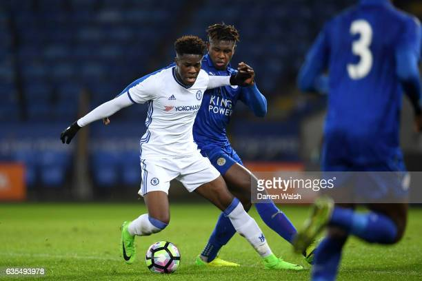Ike Ugbo of Chelsea and Darnell Johnson of Leicester City during a FA Youth Cup 6th round match between Leicester City and Chelsea at The King Power...