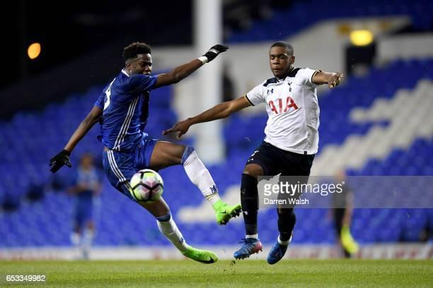 Ike Ugbo of Chelsea and Japhet Tanganga of Tottenham Hotspur during a FA Youth Cup Semi Final First Leg match between Tottenham Hotspur v Chelsea at...