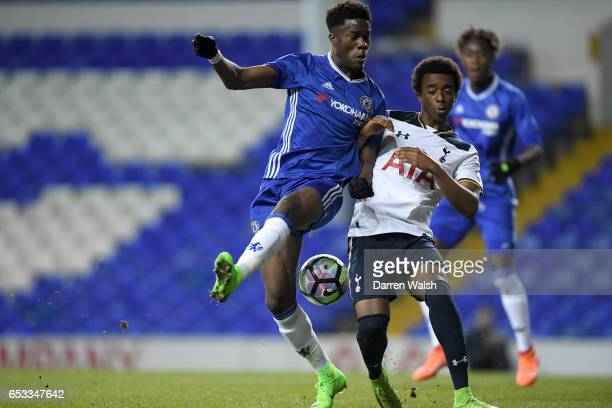 Ike Ugbo of Chelsea and Kazaiah Sterling of Tottenham Hotspur during a FA Youth Cup Semi Final First Leg match between Tottenham Hotspur v Chelsea at...
