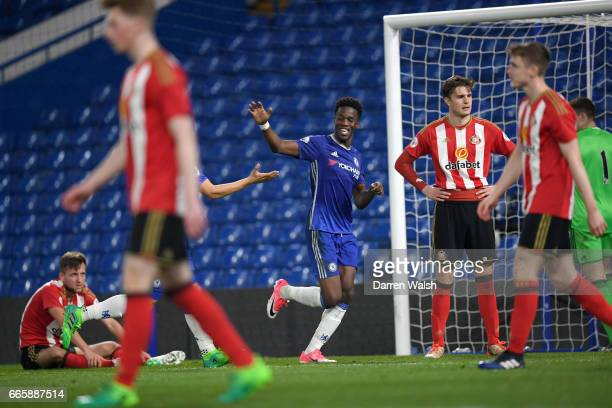 Ike Ugbo of Chelsea celebrates his 2nd goal during a Premier League 2 match between Chelsea and Sunderland at Stamford Bridge on April 7 2017 in...