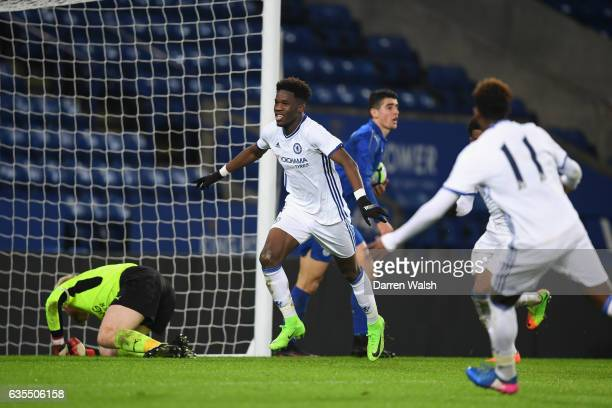 Ike Ugbo of Chelsea celebrates his goal during a FA Youth Cup 6th round match between Leicester City and Chelsea at The King Power Stadium on...