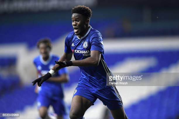 Ike Ugbo of Chelsea celebrates his goal during a FA Youth Cup Semi Final First Leg match between Tottenham Hotspur v Chelsea at White Hart Lane on...