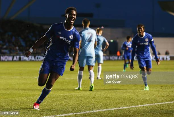 Ike Ugbo of Chelsea celebrates scoring his sides first goal during the FA Youth Cup Final First Leg match between Manchester City and Chelsea at The...