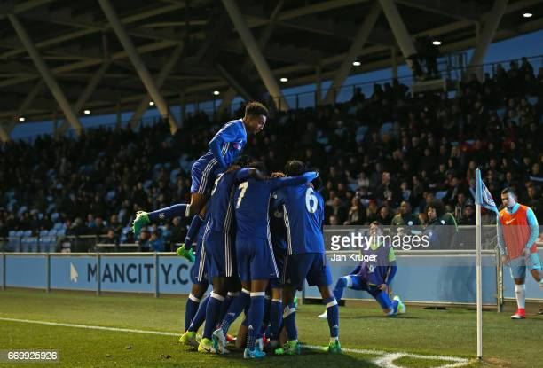 Ike Ugbo of Chelsea celebrates scoring his sides first goal with his Chelsea team mates during the FA Youth Cup Final First Leg match between...