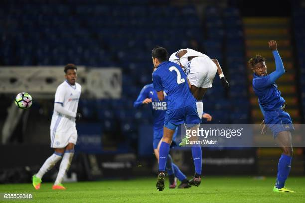 Ike Ugbo of Chelsea scores his goal during a FA Youth Cup 6th round match between Leicester City and Chelsea at The King Power Stadium on February 15...