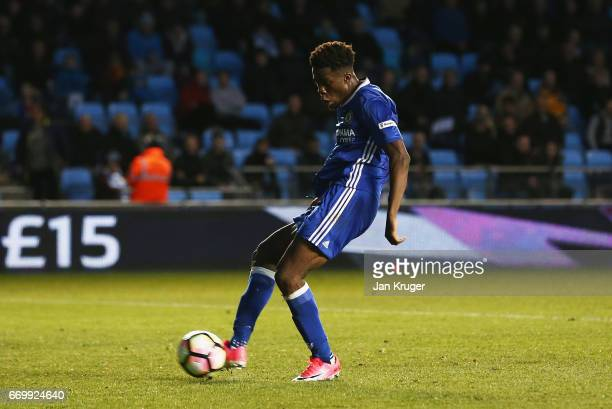 Ike Ugbo of Chelsea scores his sides first goal during the FA Youth Cup Final First Leg match between Manchester City and Chelsea at The Academy...