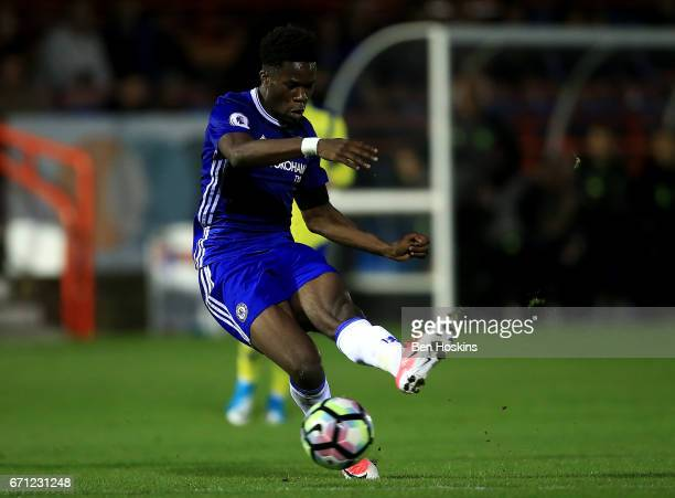Ike Ugbo of Chesea scores his team's second goal of the game during the Premier League 2 match between Chelsea and Everton on April 21 2017 in...