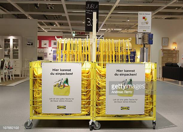 Ikea shopping bag baskets are pictured during a store opening at the 4th Ikea chain store in Berlin Lichtenberg on December 13 2010 in Berlin Germany...