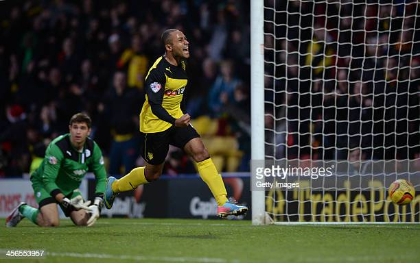 Ikechi Anya of Watford celebrates after scoring goal prior to it being disallowed for being offside during the the Sky Bet Championship match between...