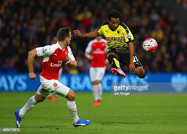 Ikechi Anya of Watford controls the ball during the Barclays Premier League match between Watford and Arsenal at Vicarage Road on October 17 2015 in...