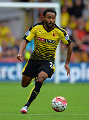 Ikechi Anya of Watford during the Barclays Premier League match between Watford and West Bromwich Albion at Vicarage Road on August 15 2015 in...