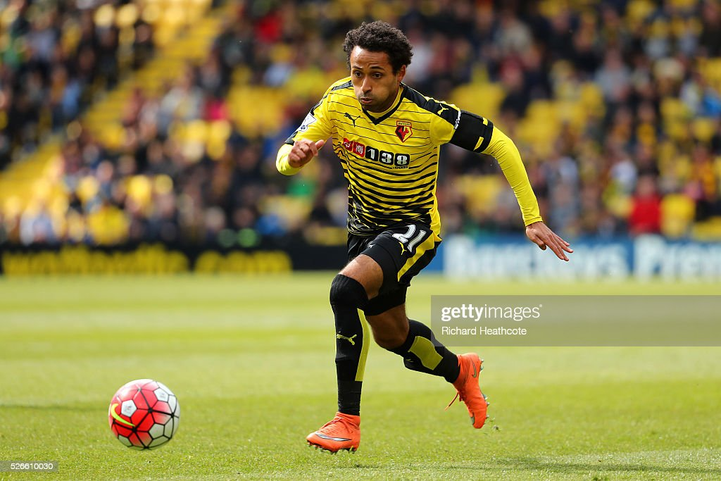 Ikechi Anya of Watford in action during the Barclays Premier League match between Watford and Aston Villa at Vicarage Road on April 30, 2016 in Watford, England.