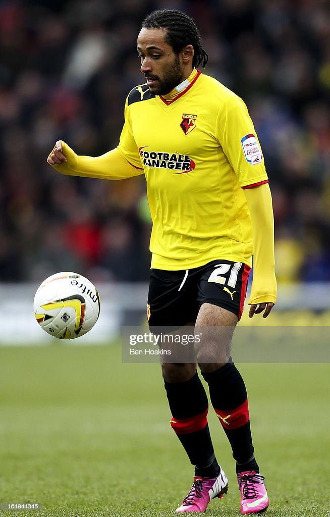 Ikechi Anya of Watford in action during the npower Championship match between Watford and Burnley at Vicarage Road on March 29, 2013 in Watford, England.